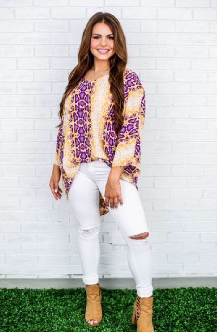 Purple and gold snake print top