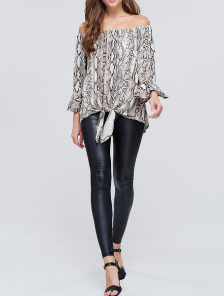 Off the shoulder snake print top