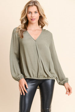 Olive Green back lace detail top