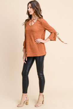 O-ring detail tunic with ruffle bell sleeve