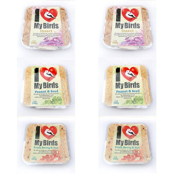 I Love My Birds Suet Cake - Variety Mix Pack of 6