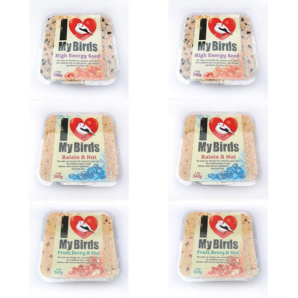 I Love My Birds Suet Cake - Fruity Mix Pack of 6
