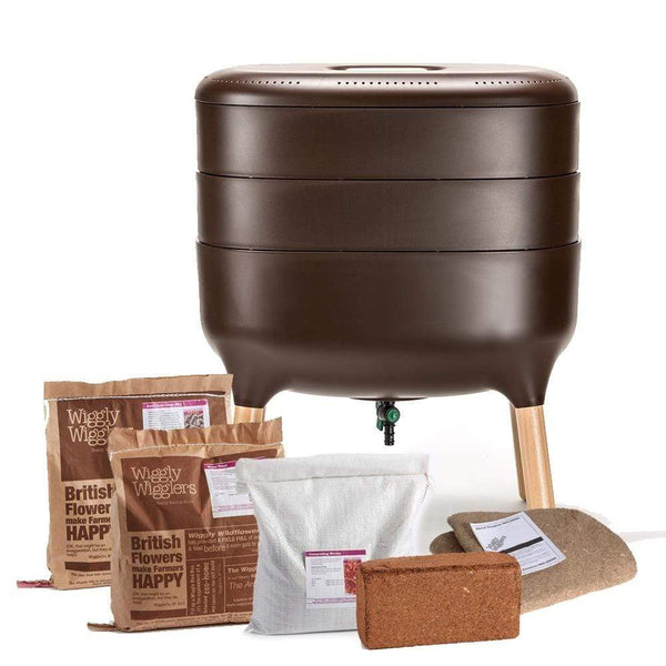 Urbalive Worm Composter From Wiggly Wigglers - 20 Litre Brown | Unit + Starter Pack  -  Wormeries