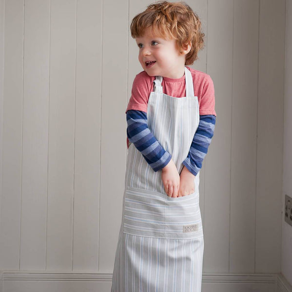 Ledbury Blue Grey Organic Childrens Apron by COTTAGE IN THE HILLS