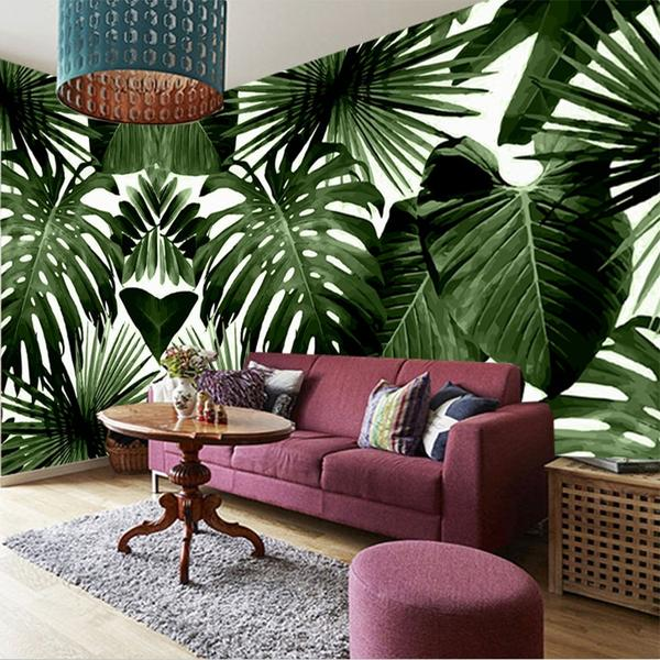 Rainforest Banana Leaves Dark Living Room Wall Mural