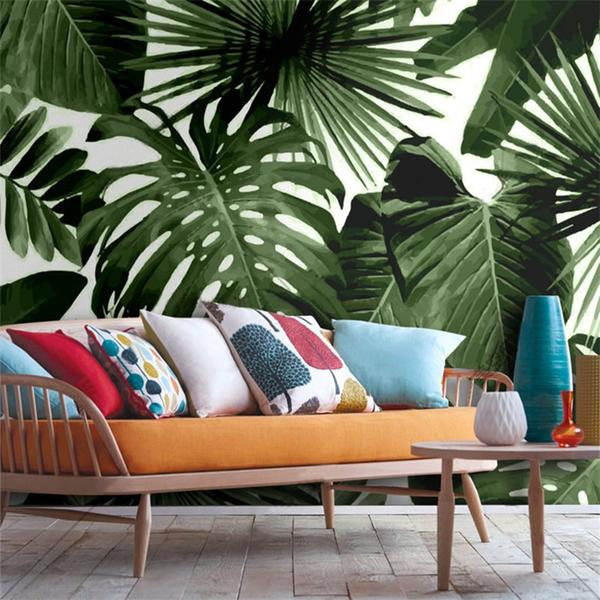 Rainforest Banana Dark Leaves Living Room Wall Mural
