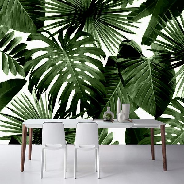 Rainforest Banana Leaves Dark Wall Mural