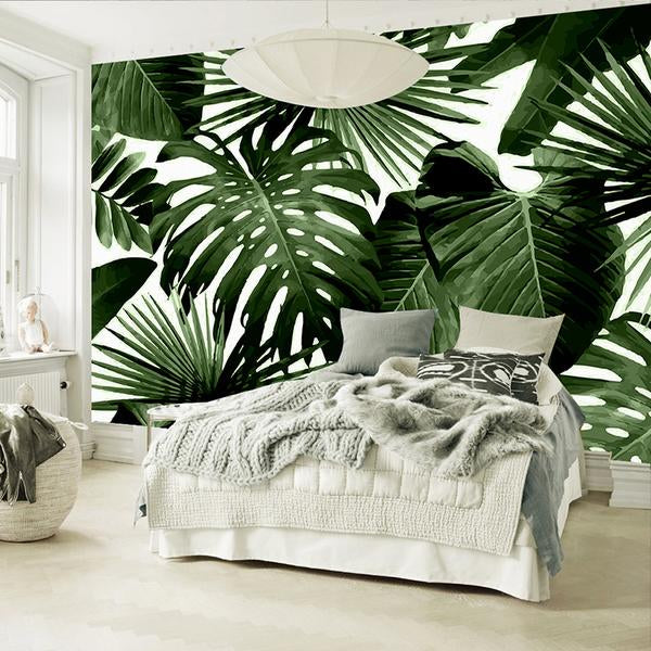 Rainforest Banana Leaves Dark Bedroom Wall Mural