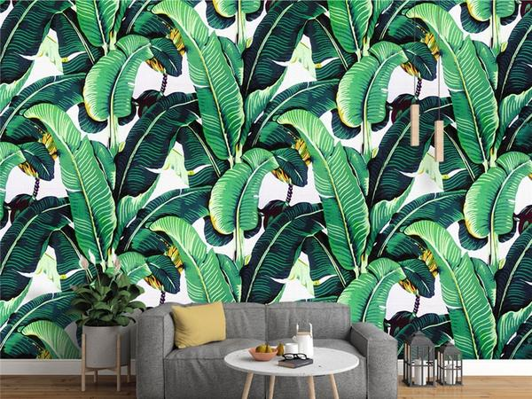 Banana Leaves Mural Wallpaper in the Living Room