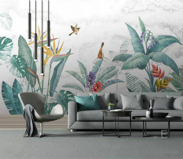 Tropical Pastel Garden Mural Wallpaper