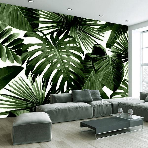 Rainforest Banana Dark  Leaves Wall Mural (SqM)