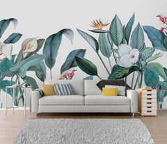 White Calas Tropical Mural Wallpaper