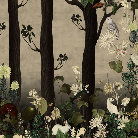 Rabbit Hole Grey Mural Wallpaper (SqM)