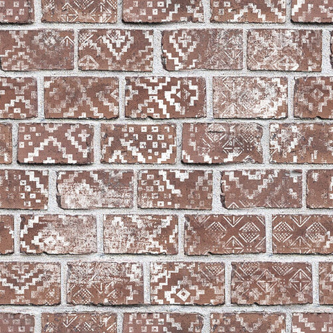 Boho Red Bricks Mural Wallpaper (SqM)
