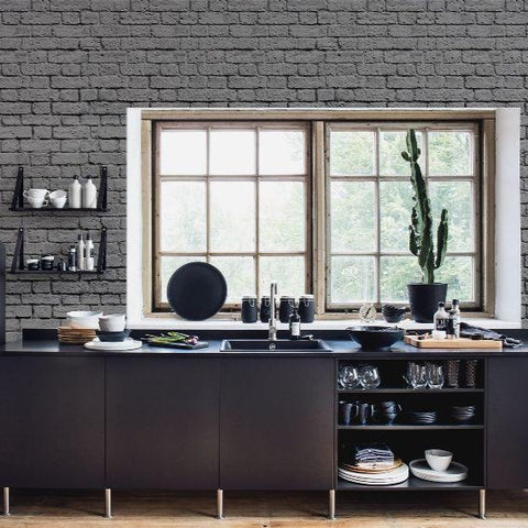 Soft Grey Bricks Mural Wallpaper (SqM)