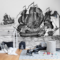 Pirates Adventure B&W Mural Wallpaper (SqM)