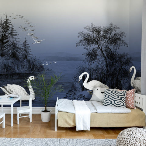Swan Lake Midnight Blue Mural Wallpaper (SqM)