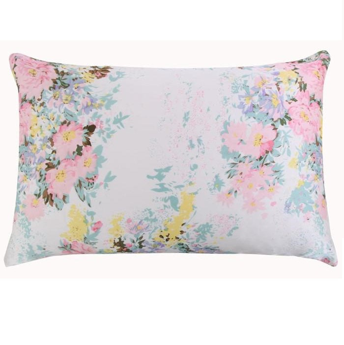 Blue Rose Floral Mulberry Silk Pillowcase