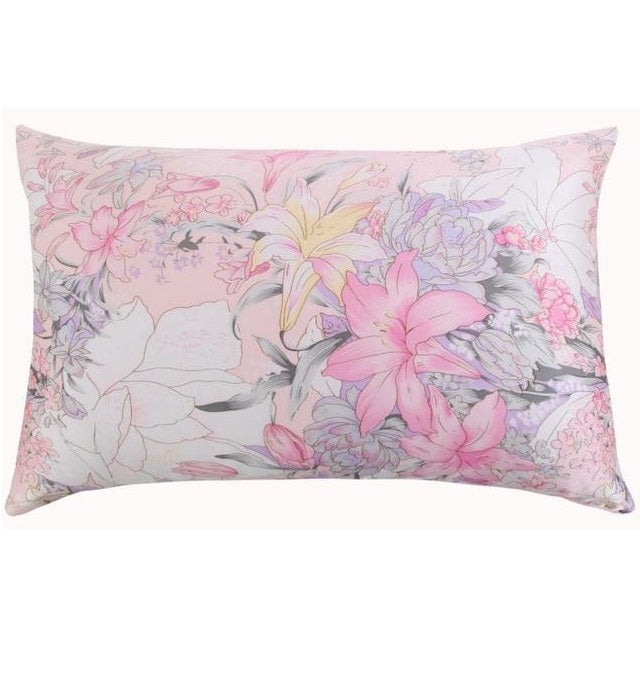Pink Lilly Floral Mulberry Silk Pillowcase