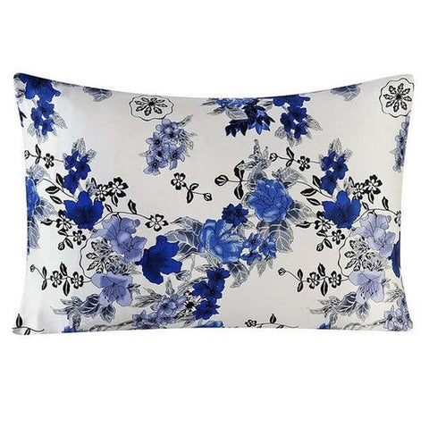 Blue Bouquet Mulberry Silk Pillowcase