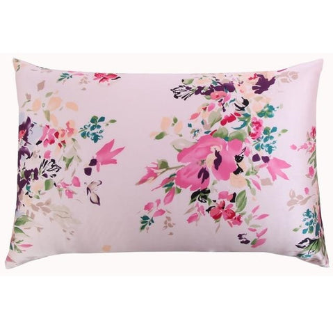 Rose Aquarelle Floral Mulberry Silk Pillowcase