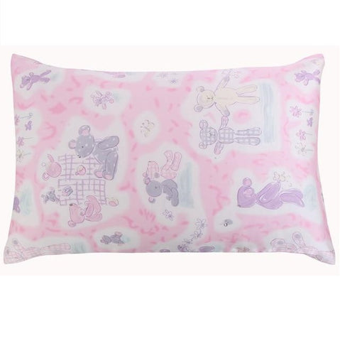 Teddy Bear Pink Mulberry Silk Pillowcase