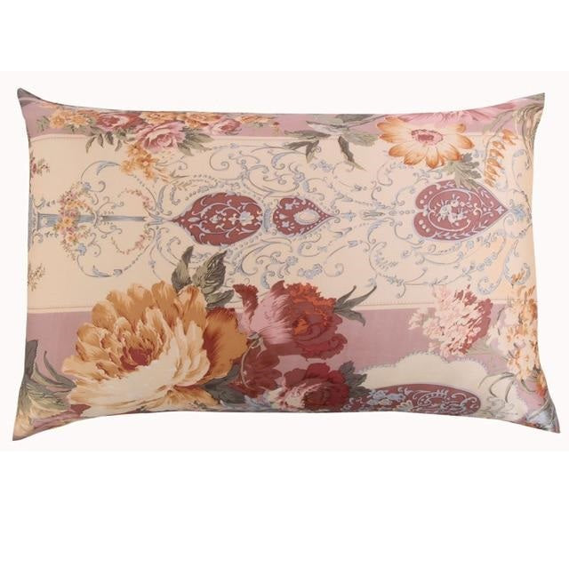 Vintage Living Floral Mulberry Silk Pillowcase
