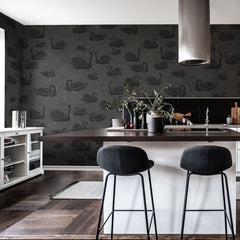 Black Swan Mural Wallpaper (SqM)