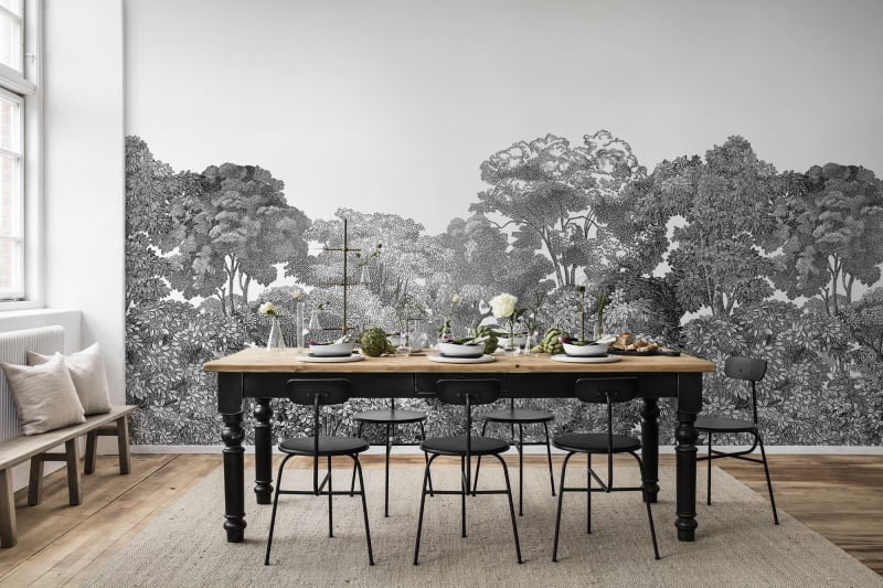 Bellewood Black & White Painting Wall Mural Wallpaper (SqM)