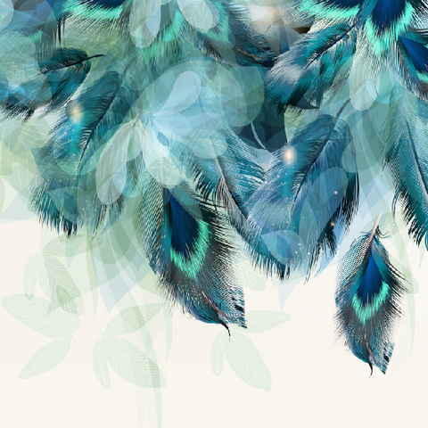 Teal Feathers Mural - Wallpaper Sample