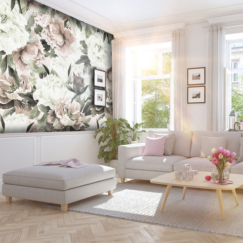 Blush Peonies of Taormina Mural - Wallpaper Sample