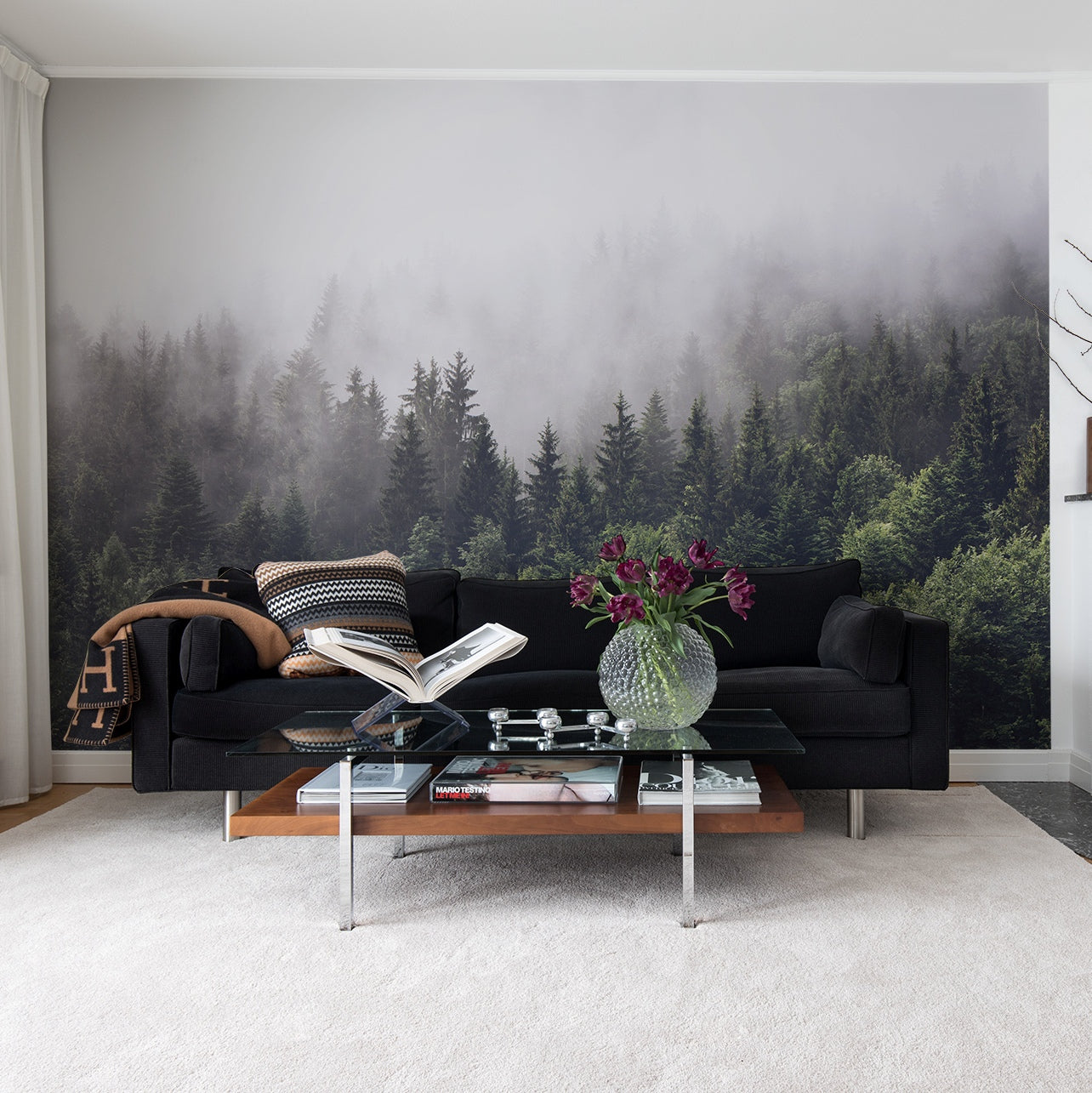 Forest Fog Mural - Wallpaper Sample