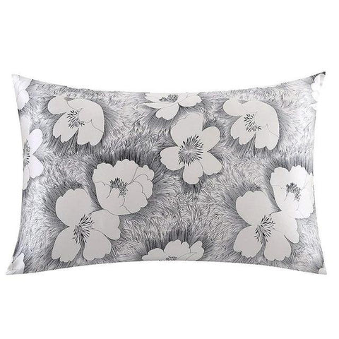 Silver Poppy Mulberry Silk Pillowcase