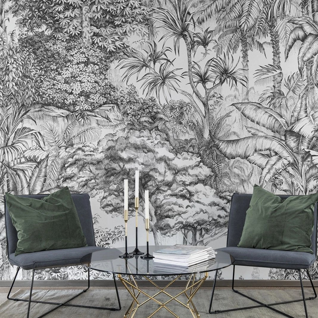Tropical Jungle In Grey Mural Wallpaper Sqm Jass London Ltd Registered In England And Wales Registered Number 07896273