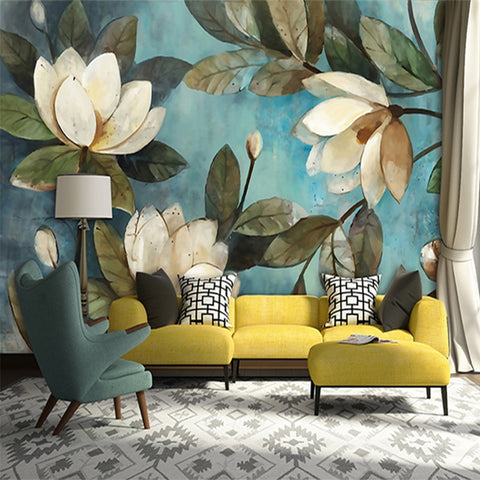 3D Vintage Lotus Teal Wall Mural (SqM)