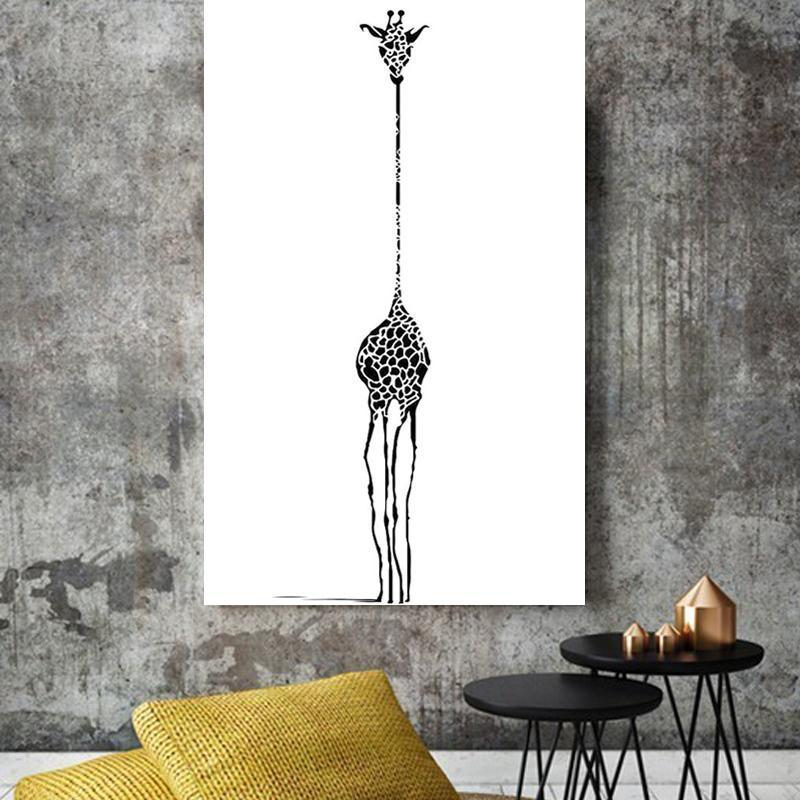 Minimalist Giraffe Canvas Wall Art