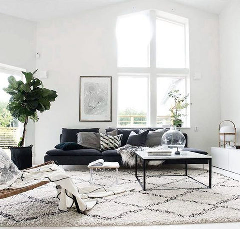 Ivory & Grey Moroccan Diamond Rug from Shag Collection