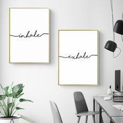 Inhale Exhale Minimalist Canvas Wall Art