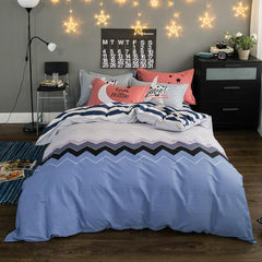 Blue Striped Duvet Cover 4 Piece Bedding Set