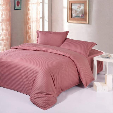 Classic Monochrome Striped Dusty Rose Duvet Cover Bedding