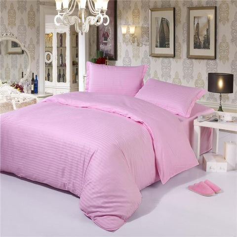 Classic Monochrome Striped Pink Duvet Cover Bedding