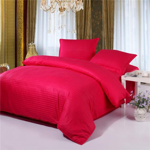 Classic Monochrome Striped Red Duvet Cover Bedding