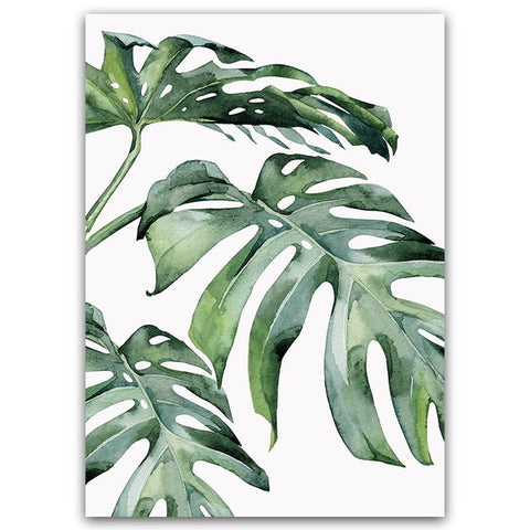 Monstera Green Leaves Wall Art