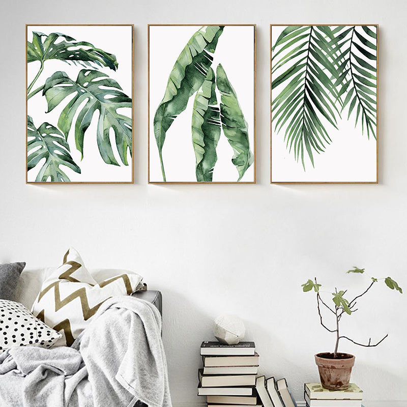 Watercolor Green Leaves Wall Art