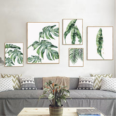 Monstera Trio Green Leaves Wall Art