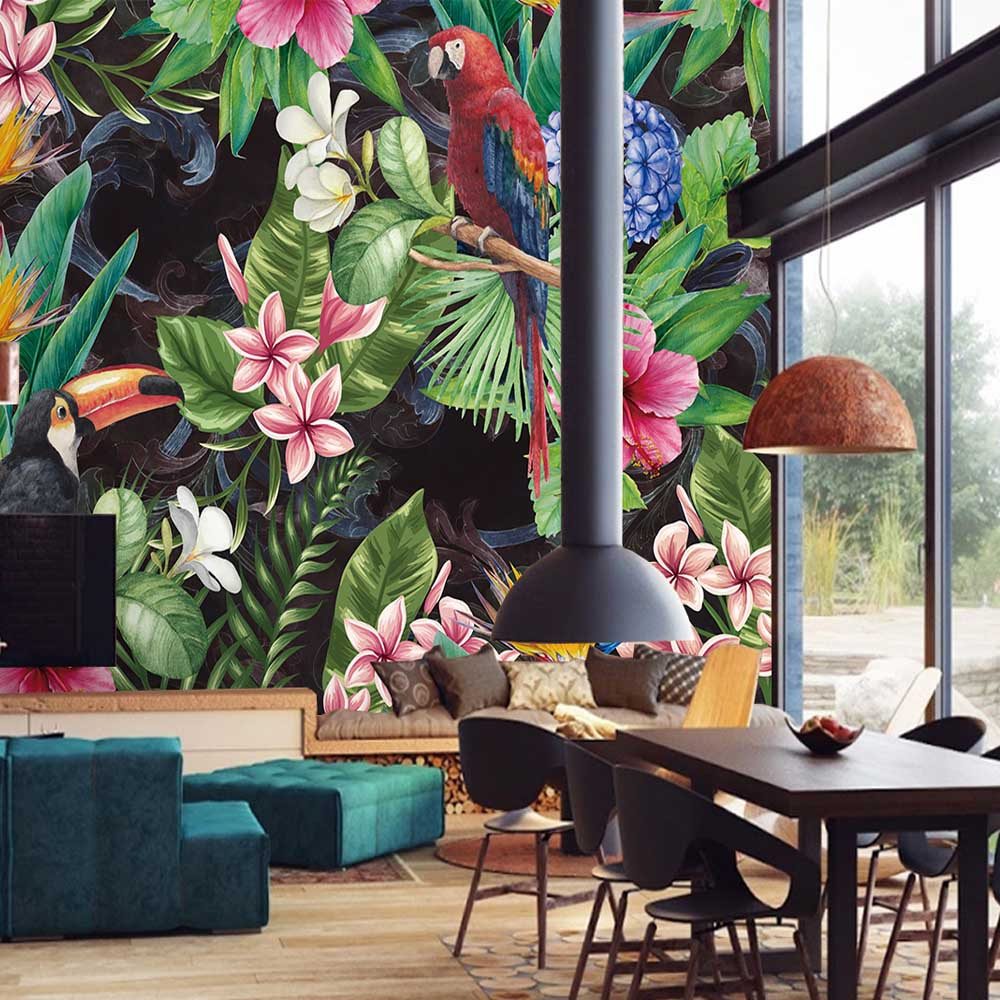 3D Tropical Jungle Flora & Fauna Wall Mural