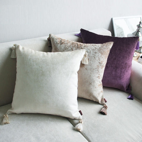 Chenille Cushion Cover with Tassels