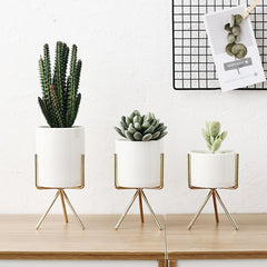 Nordic Ceramic Pots with Metallic Shelves (Set of 3)