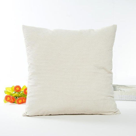 Cream Corduroy Cushion Cover