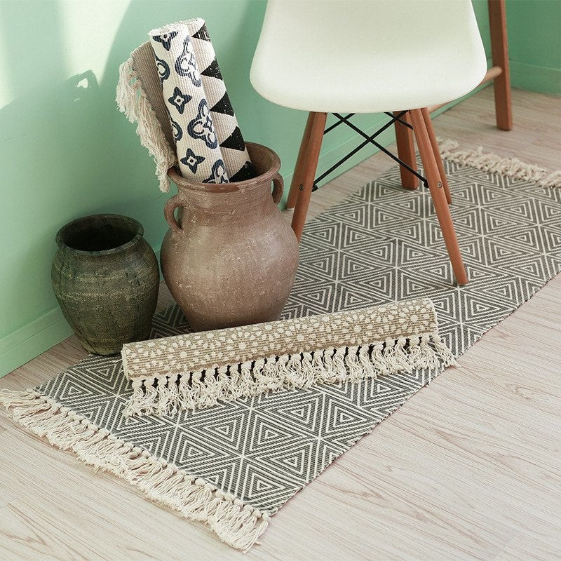 Grey Triangle Cotton Rug